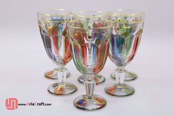 Picture of High quality colorful crystal glasses with gold plating set of 6 - Hamedan handicraft