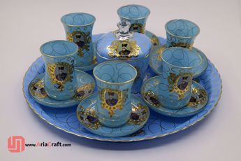 Picture of Shah Abbasi gold plated crystal Dishes with a sugar bowl - 15 Containers  - Hamedan handicraft