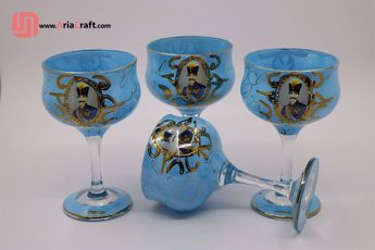 Picture of Shah Abbasi gold plated crystal ice cream dishes set of 6 - Hamedan handicraft