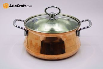 Picture of Hammered Hammered Copper Soup Pot with Glass Lid - Zanjan handicraft