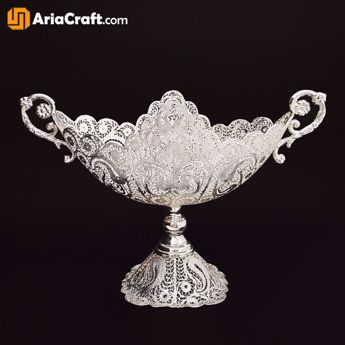 Picture of Filigree Kashkul Nuts Bowl Dish 22 cm with Base - Isfahan handicraft