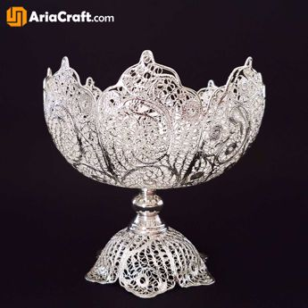 Picture of Filigree Kashkul Nuts Bowl Dish 25 cm with Base - Isfahan handicraft