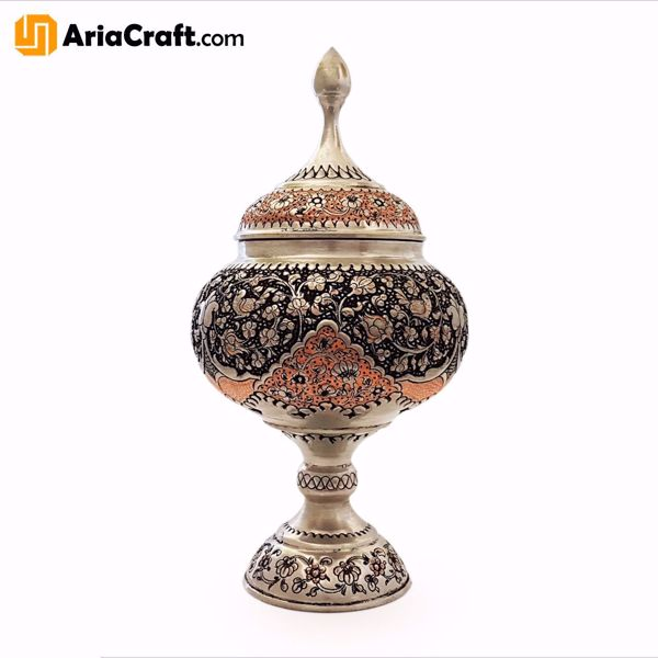 Picture of Metal Engraving Copper Candy Dish 33 cm - Isfahan handicraft