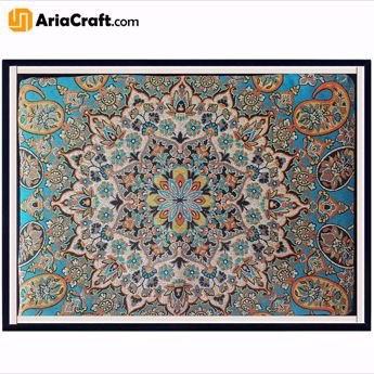 Picture of Yazd Termeh made of Artificial Silk 100 cm Square with Velvet Box - Yazd handicraft