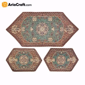 Picture of Yazd Termeh made of 5 Colors of High Quality Artificial Silk Set of 3 - Yazd handicraft