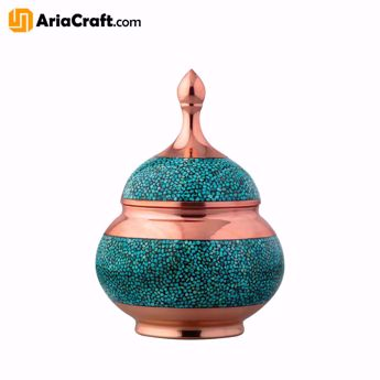 Picture of Turquoise Inlaying Copper Firuzehkubi Candy Dish 19 cm with Lid - Isfahan handicraft