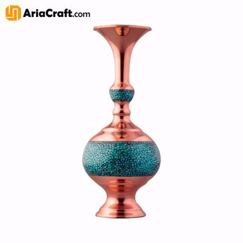 Picture of Turquoise Inlaying Copper Firuzehkubi Decorative Vase 10_26 cm - Isfahan handicraft
