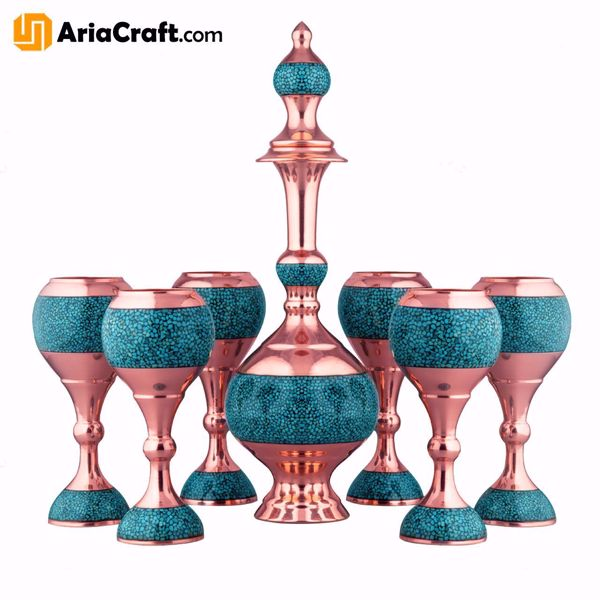Picture of Turquoise Inlaying Copper Firuzehkubi Syrup Drinking Set with Tray Set of 8  - Isfahan handicraft