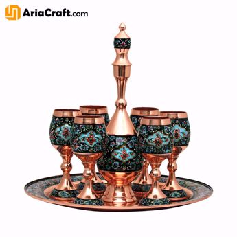Picture of Painting on Copper Pardaz Syrup Drinking Set 35 cm with Tray Set of 8  - Isfahan handicraft