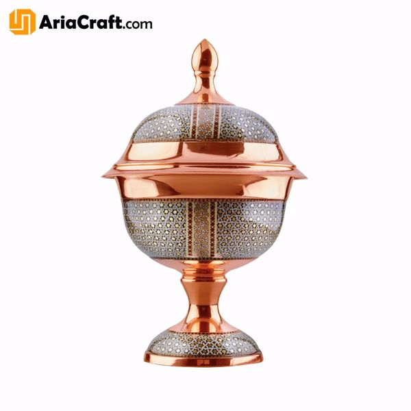 Picture of Khatam on Copper Candy and Chocolate Dish 19-33 cm  - Isfahan handicraft