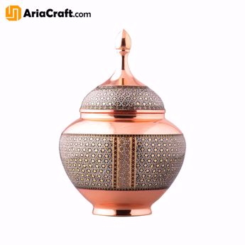 Picture of Khatam on Copper Candy and Chocolate Dish 19-30 cm  - Isfahan handicraft