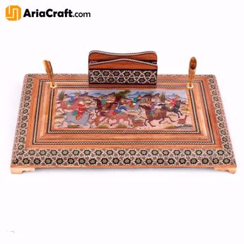 Picture of Khatam on Wood Desktop and Office Pen Holder 17_25 cm with Painting Khatamkari Inlaying