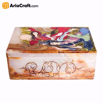 Picture of Miniature Jewelry Box Made of Marbel Stone 15*10*6 cm with Love Design- Isfahan handicraft