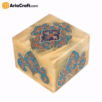 Picture of Miniature Jewelry Box Made of Marbel Stone 8*8*6 cm with Illuminated Painting - Isfahan handicraft
