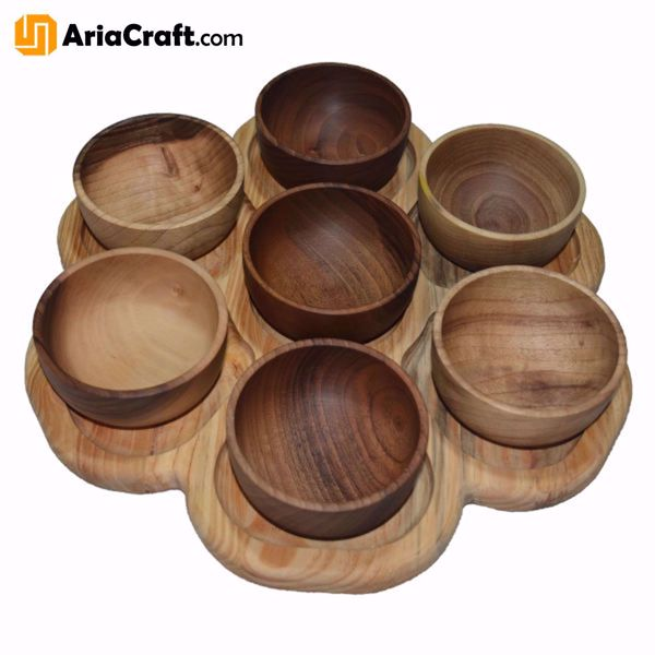 Picture of Woodturning Wooden Bowls with a Tray Set of 8 High-Quality Handmade Dishes - Isfahan Handicraft