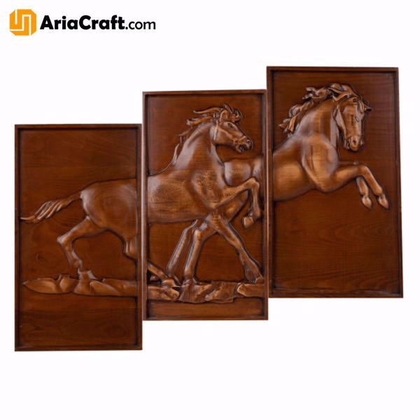 Picture of Woodcarving Board High-Quality Handmade Wooden Board with Horses - Persian Handicraft